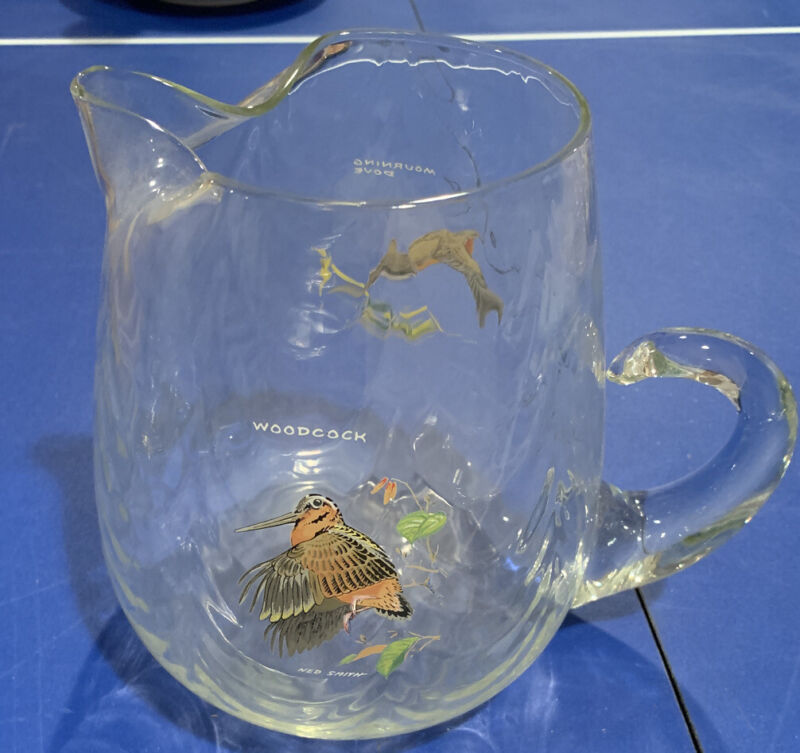 """Drink Pitcher w/ ICE LIP Swirl glass 7"""" x 6"""" Hand-painted Ned Smith Game birds"""