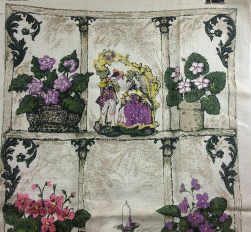 Victorian Window Violet Flowers Old World Figurines Whimsical Linen Tea Towel