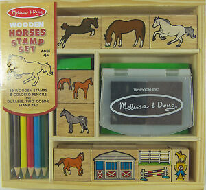 MELISSA-DOUG-HORSES-10-WOOD-STAMP-SET-5-COLORED-PENCILS-2-COLOR-INK-PAD-NEW