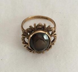 9ct Gold Smokey Quartz Ring Size L1/2