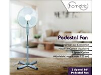 "Electric 16"" Oscillating Extendable Free Standing Tower Pedestal Cooling Fan - Brand New"