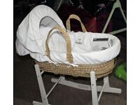 Mamas and Papas Moses Basket and Stand - very good condition