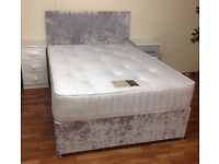 DOUBLE BED WITH ORTHO MATTRESS CRUSHED SILVER