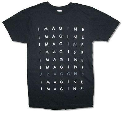 Imagine Dragons Repeat Logo Tour Mens Black T Shirt New Official Adult