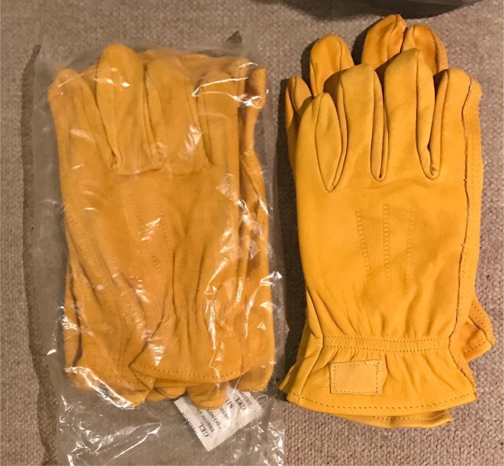Brand New Tan Leather gardening gloves !!!! M L XL
