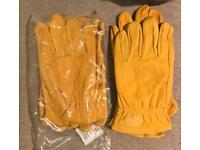 Brand New Tan Leather gardening gloves !!!! M L XL