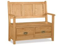 New Salisbury Erne Oak Large Monks bench Only £329 get yours today