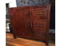 Dark walnut solid wood cupboard/drawer unit