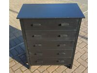 Solid Wood Chest of Drawers, Stain Black, Good Used Condition