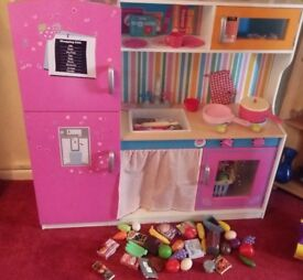 Large wooden play Kitchen With stacks off play food and accessories