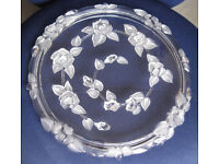 Large heavy glass cake plate stand with embossed roses, perfect condition