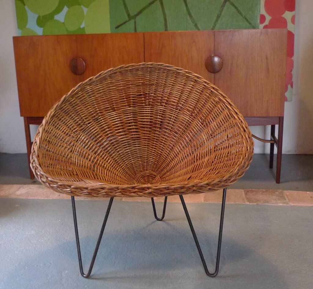 Vintage rattan chair - 50s Rattan Tub Chair On Hairpin Legs By Terence Conran Mid Century Wicker Retro Vintage