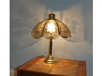 Table Lamp - glass shade and brass base Includes shade, bulb and plug Excellent condition