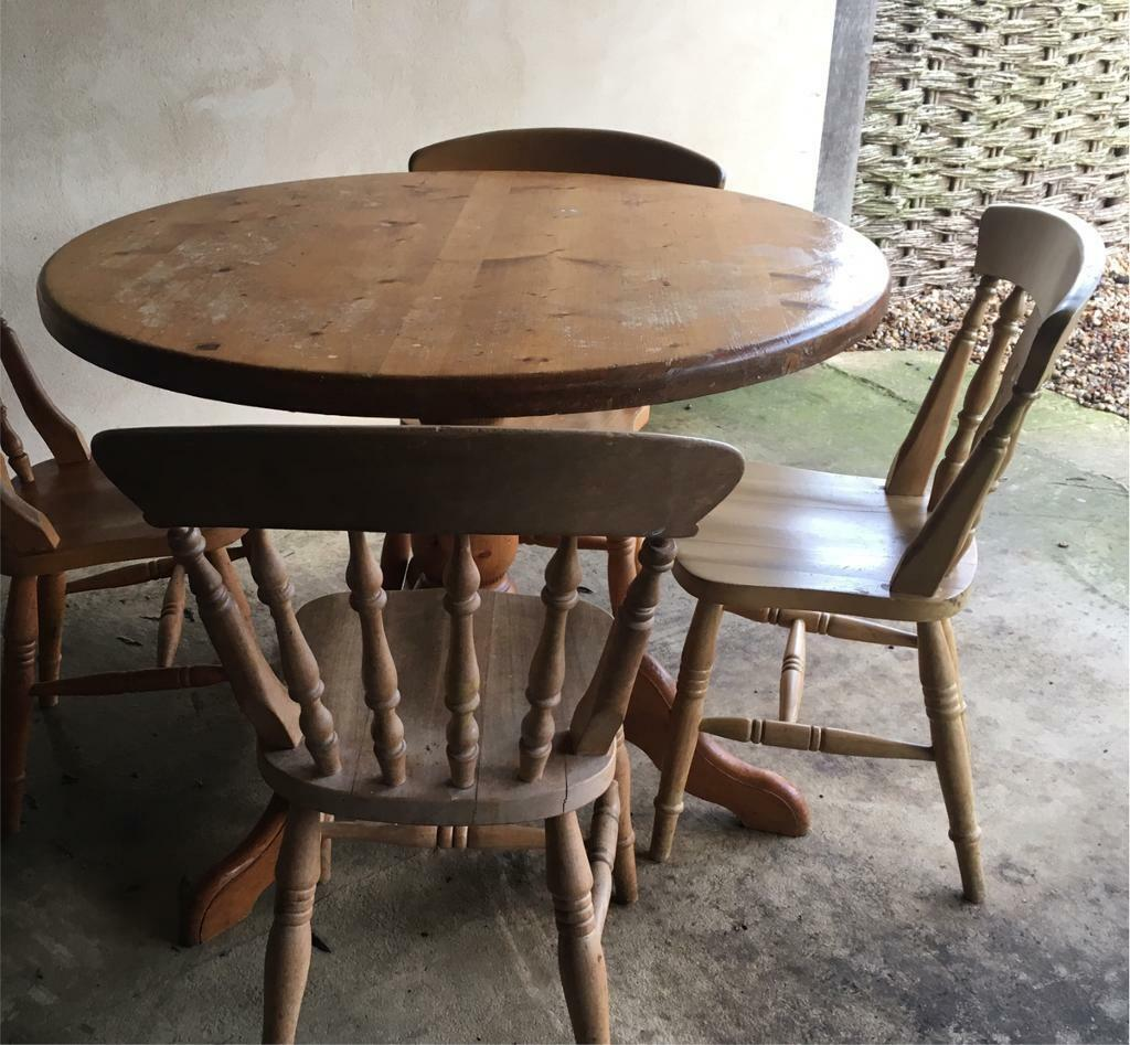 Free To Good Home Round Pine Kitchen Table With 4 Mismatched Chairs In Norwich