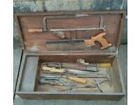Old toolbox with vintage tools