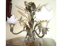 5x Vintage Italian Gilt Metal Sheaf Of Wheat and Flowers set of 5 Chandelier, 1960s