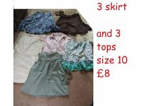 ladies clothes size 10 ----3 skirts 3 tops £8