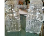 Glass storage pots.