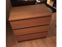 Wooden chest of drawers - near new condition - collection only