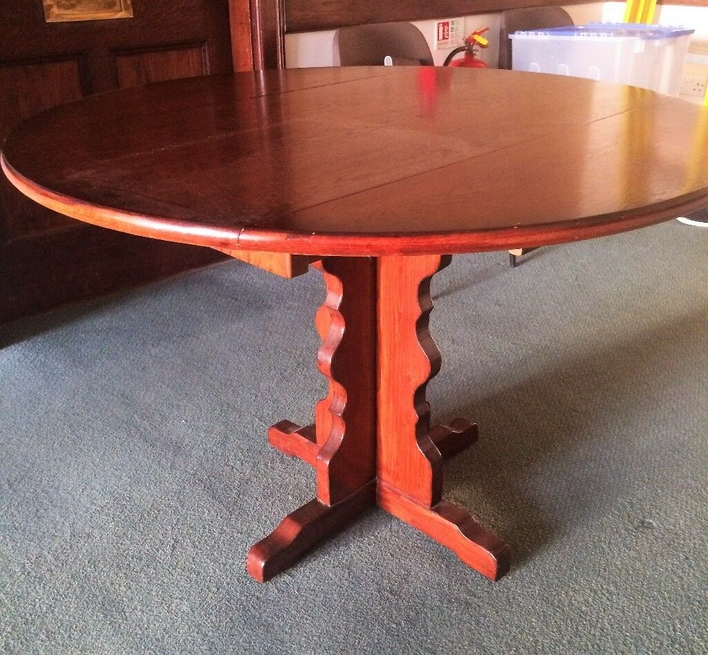 Reduced mahogany drop leaf dining table circular 110cm diameter vintage very good condition redland