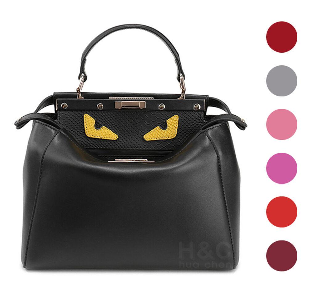 Genuine Leather Satchel Handbag Hobo Monster Shoulder Purse