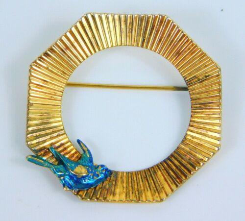 "Vintage Signed Napier Sterling Silver Gold Vermeil Blue Bird Brooch Pin 1.5"""