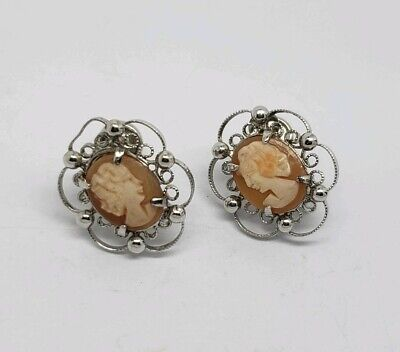 DESIGNER STERLING SILVER AND CARVED SHELL CAMEO EARRINGS Carved Shell Cameo Earrings