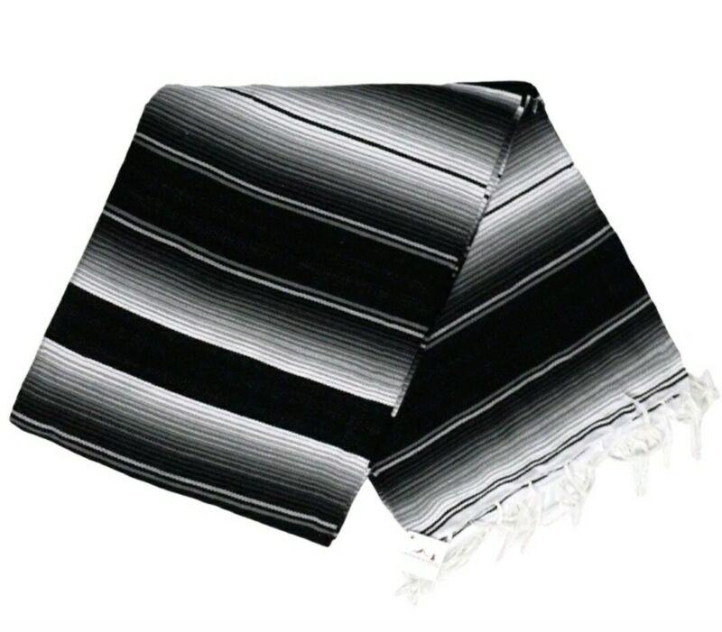 Serape Mexican blanket Seatcover Biker Lowrider,motorcycle Black Gray White  XL