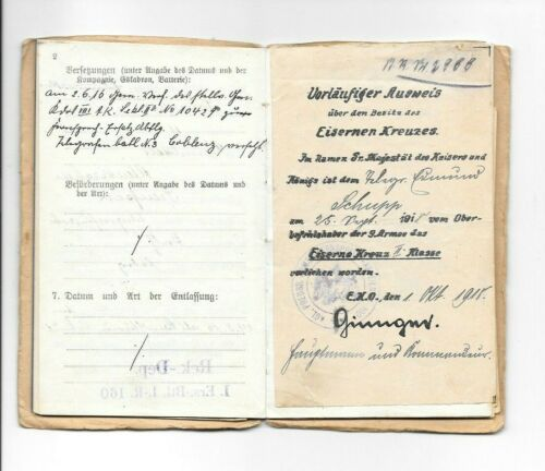 WW1 GERMAN SOLDIERS MILITARIAPASS ID - TELEGRAPHIST ABTLG 109, IC 2nd DOCUMENT +