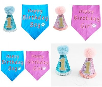 Dog Cat Birthday Bandana & Hat Set Pet Puppy Costume Gift Accessories Blue/Pink - Cat Costume Accessories