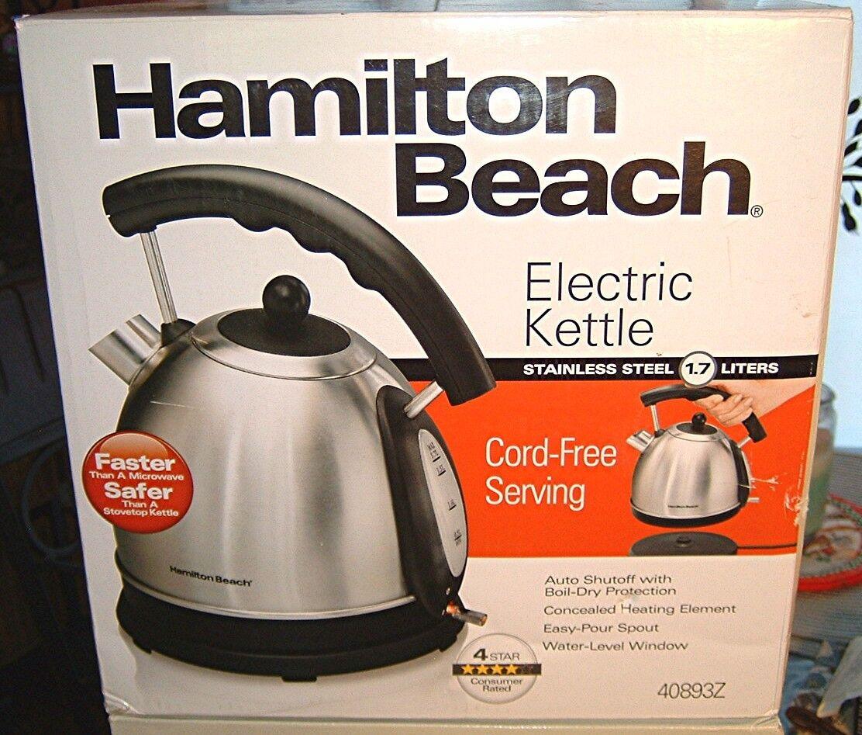 NIB Hamilton Beach 1.7L Stainless Steel Electric Kettle 4089