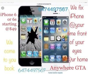 Apple iPhone screen replacement repair @ your hole or our store