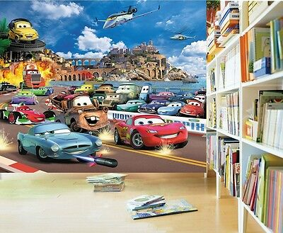 CARS Kinder Fototapete Tapete McQueen Auto Wandbild Kinderzimmer Poster Bordüre
