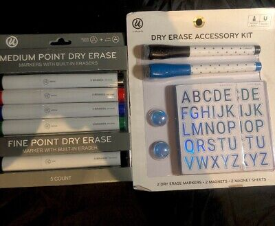 U Brands Dry Erase Markers And Dry Erase Accessory Kit - Lot Of 2 - New