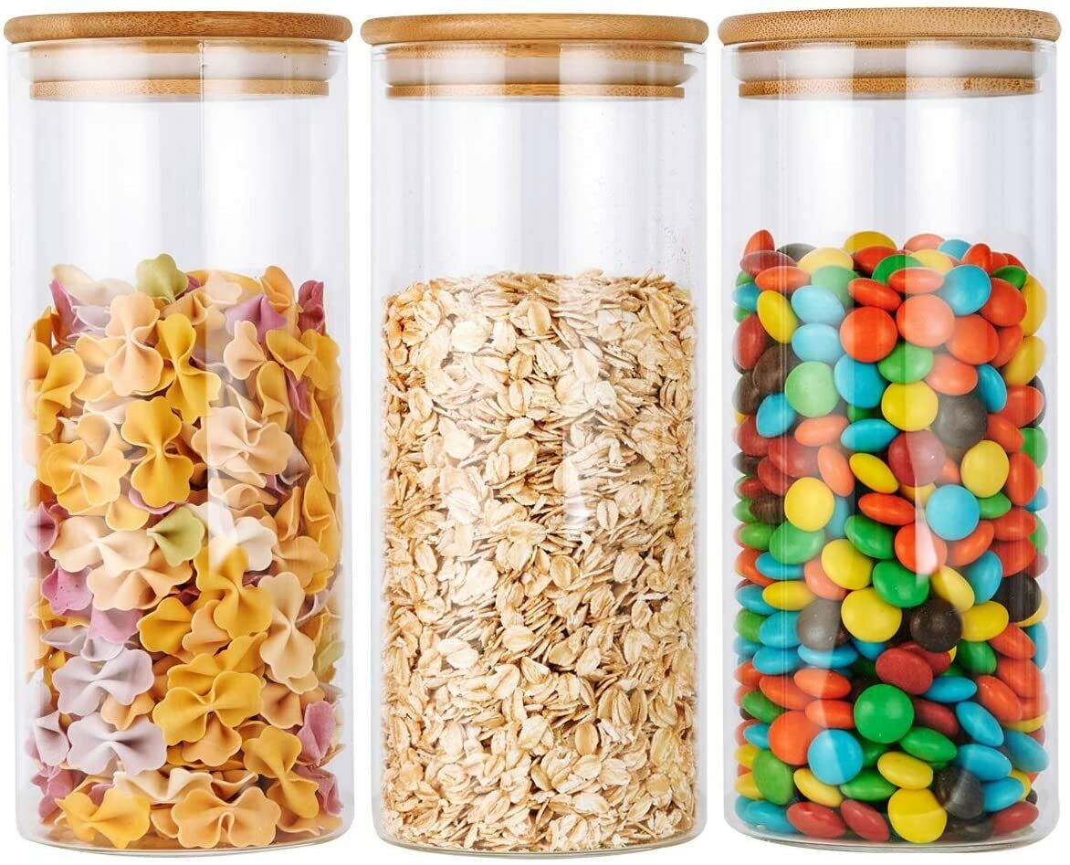 Glass Food Storage Jars Containers With Airtight Bamboo Lids Set Of 3 950ML Food Storage Containers