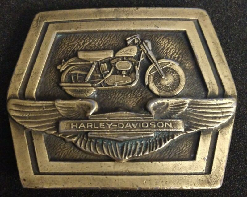 Vintage Harley Davidson Sportster Belt Buckle Solid Brass Made By Tiffany Studio