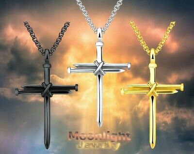 New Jesus Christ Nail Cross Pendant Men Stainless Steel Necklace - Nail Necklace
