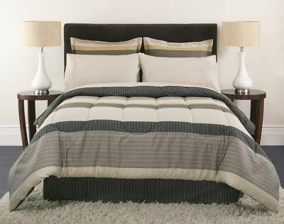 Colormate Brown Townsend Reversible Comforter Complete Bed Set - Twin, Queen    (Twin Complete Bed)
