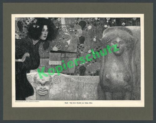 "Gustav Klimt Holzstich ""Musik II"" Sphinx Jugendstil Secession Wien Malerei 1898"