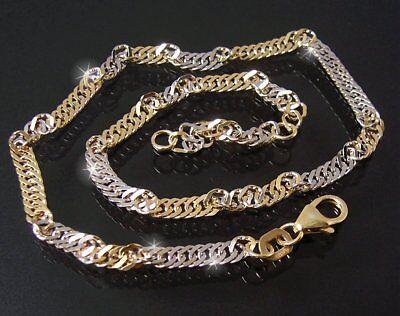 Fußkette 2,9mm Singapurkette 925 Sterling Silber gold 23-25cm Kette Fuß 12429-25