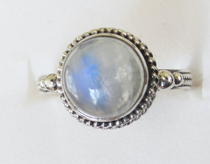 Rainbow Moonstone Ring in Sterling Silver sz 8.75