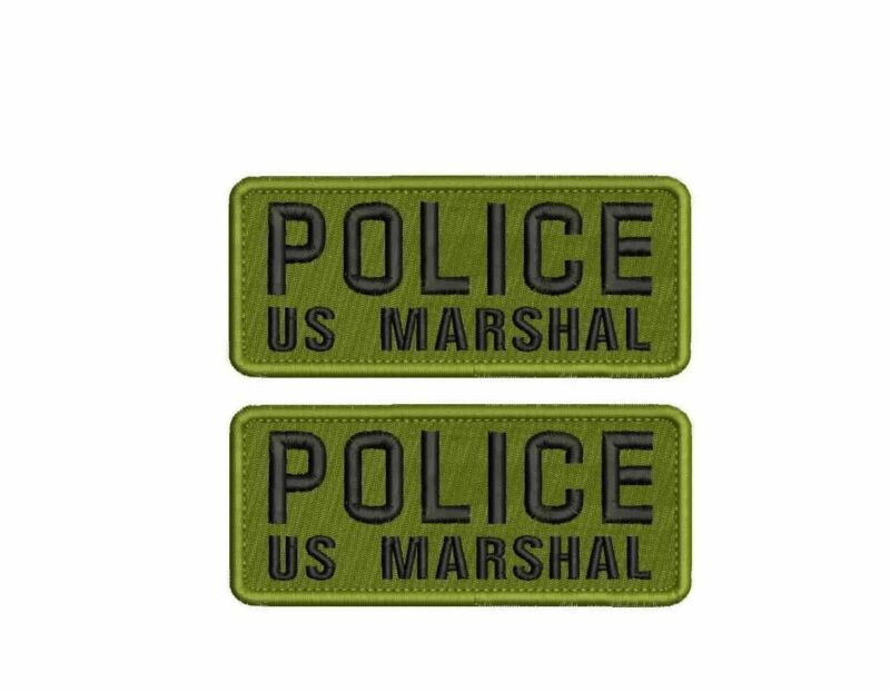 "2 POLICE US MARSHAL mbroidery patches  2x5"" hook on back"
