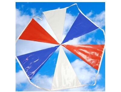 Triangle Red White Blue Pennant Strings - 100 Yards