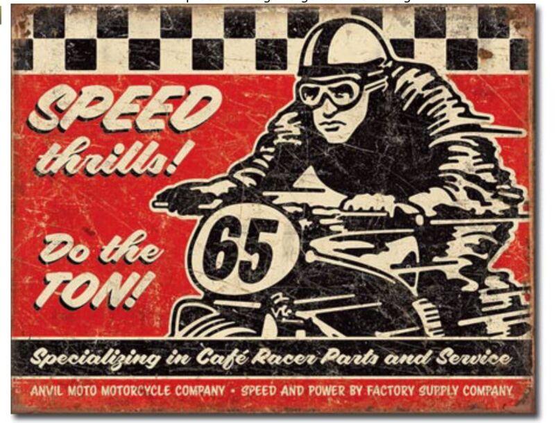 Speed Thrills Metal Tin Sign Motorcycle Garage Shop Man Cave Wall Decor #2034
