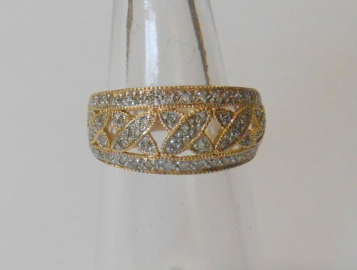 Estate Diamond Cluster 14K Yellow Gold X Trellis Design Ladies Ring Size 5.25
