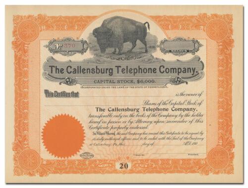 Callensburg Telephone Company Stock Certificate (Buffalo Vignette)
