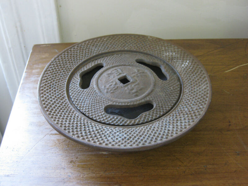 antique CAST IRON INCENSE BURNER dish with lid