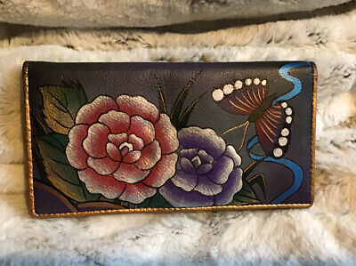 Vintage Black Anuschka Hand Painted Leather Wallet Flowers & butterfly's