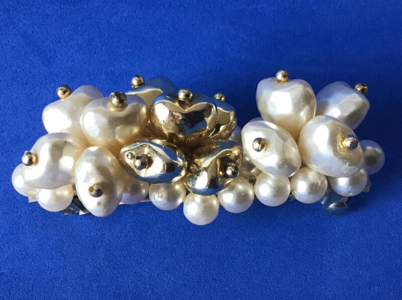 Vintage Puffy Pearl Gold Tone Heart Bead Hair Barrette Clip Retro Metal Grip MCM