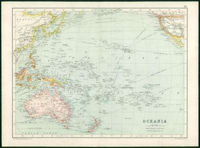 1912 Original Colour Antique Map  - AUSTRALIA  OCEANIA MAP  (82)